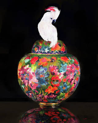 Painting - Cockatoo On Cloisonne by Kimberly Potts