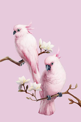 Digital Art - Cockatoos And Magnolia by Bji/blue Jean Images