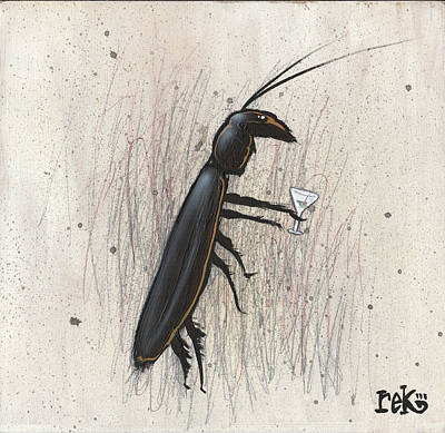 Painting - Cockroach With Martini by Rick Baldwin