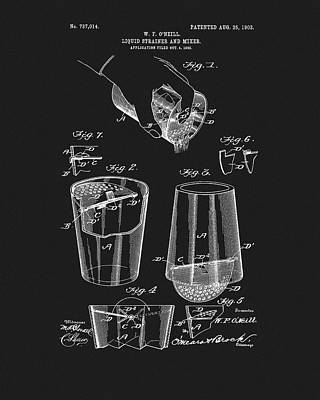 Martini Drawings - Cocktail Mixer Patent by Dan Sproul