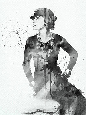Digital Art Rights Managed Images - Coco Chanel black and white watercolor portrait Royalty-Free Image by Mihaela Pater