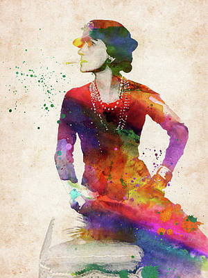 Digital Art Rights Managed Images - Coco Chanel colorful watercolor portrait Royalty-Free Image by Mihaela Pater