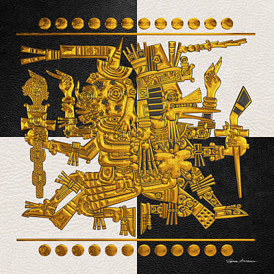 Digital Art - Codex Borgia - Aztec Gods - Gold Mictlantecuhtli With Quetzalcoatl On Black And White Leather by Serge Averbukh