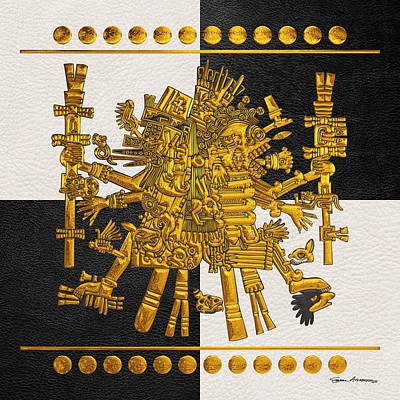 Digital Art - Codex Borgia - Aztec Gods - Gold Quetzalcoatl With Mictlantecuhtli On Black And White Leather by Serge Averbukh
