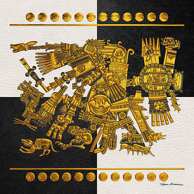 Digital Art - Codex Borgia - Aztec Gods - Gold Tezcatlipoca - Smoking Mirror On Black And White Leather by Serge Averbukh