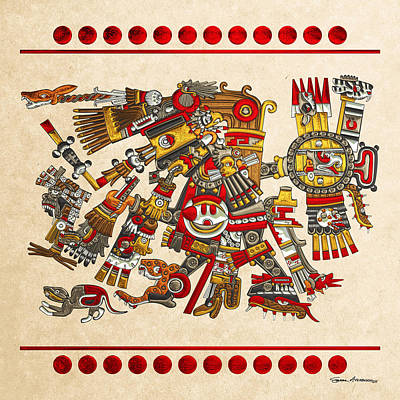 Digital Art - Codex Borgia - Aztec Gods - Tezcatlipoca - Smoking Mirror On Vellum by Serge Averbukh