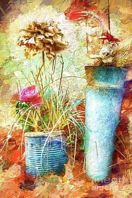 Painting - Coffee Can Flowers Ap by Dan Carmichael
