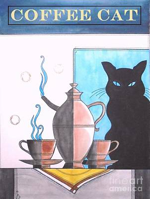 Painting - Coffee Cat by John Lyes