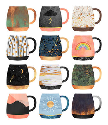 Tea Cup Wall Art - Digital Art - Coffee Cup Collection 2 by Elisabeth Fredriksson