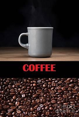 Digital Art - Coffee, Mug And Beans by John Lyes