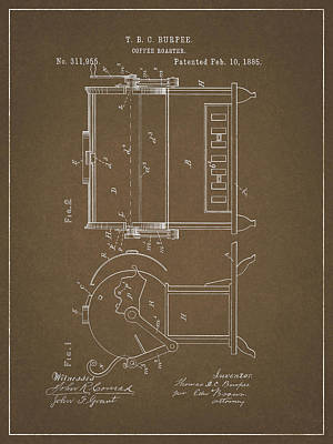 Drawing - Coffee Roaster Patent by Dan Sproul