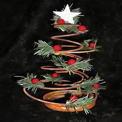 Painting - Coiled Spring Bespoke Christmas Tree Isolated On Black by Taiche Acrylic Art