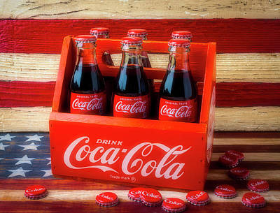 Photograph - Coke And American Flag by Garry Gay