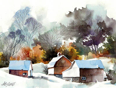 Cold Barns Art Print by Art Scholz