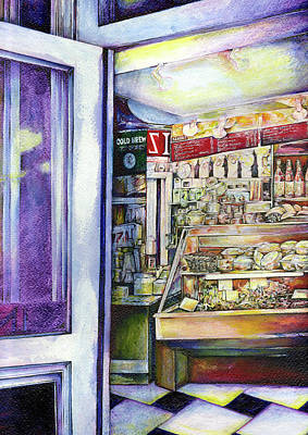 Wall Art - Painting - Cold Brew In A Hot Deli by Gaye Elise Beda