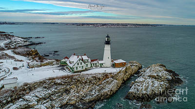 Photograph - Cold Day, Warm Light At Portland Head Light by Michael Hughes