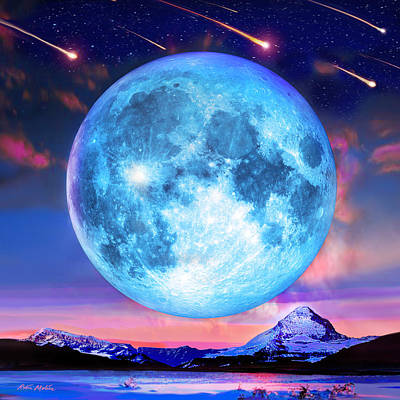 Digital Art - Cold Mountain Moon by Robin Moline