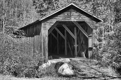 Photograph - Cold River Covered Bridge Black And White by Adam Jewell
