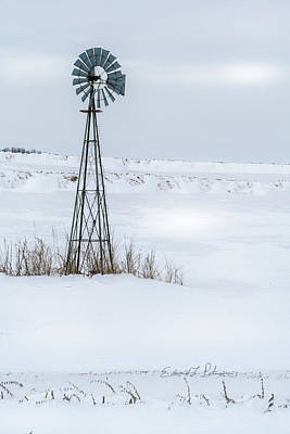 Photograph - Cold Windmill by Edward Peterson