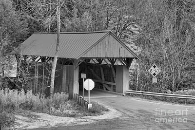 Photograph - Cole Hill Covered Bridge Road Black And White by Adam Jewell