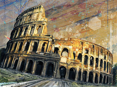 Surrealism Royalty-Free and Rights-Managed Images - Colosseo Tramonto by Andrea Gatti