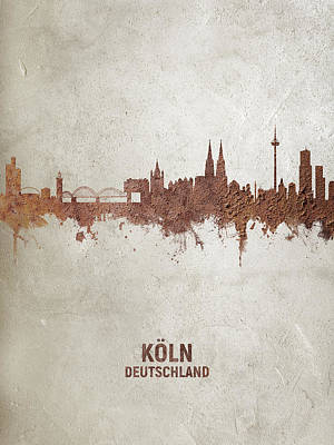Digital Art - Cologne Germany Rust Skyline by Michael Tompsett