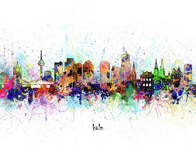 Abstract Skyline Royalty-Free and Rights-Managed Images - Cologne Skyline Artistic by Bekim M
