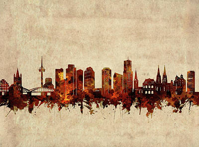 Abstract Skyline Royalty-Free and Rights-Managed Images - Cologne Skyline Sepia by Bekim M