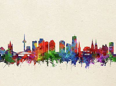 Abstract Skyline Royalty-Free and Rights-Managed Images - Cologne Skyline Watercolor by Bekim M