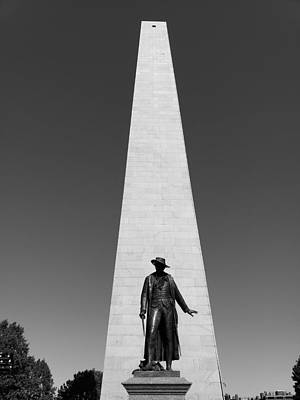 Photograph - Colon Presscott And The Bunker Hill Monument B W by Rob Hans