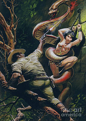 Painting - Colonel Percy Fawcett Saving A Beautiful Indian Maiden From A Ritual Sacrifice by Oliver Frey