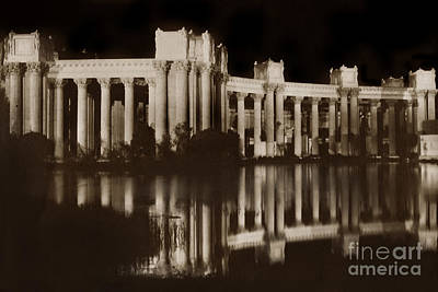 Photograph - Colonnades At Night- Palace Of Fine Arts At The Panama Pacific I by California Views Archives Mr Pat Hathaway Archives
