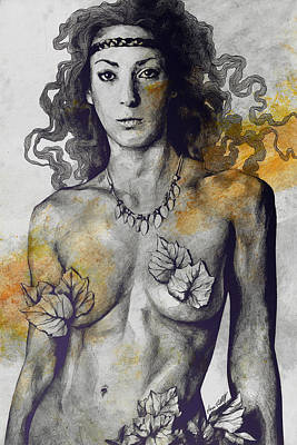 Colony Collapse Disorder - Gold - Nude Warrior Woman With Autumn Leaves Original