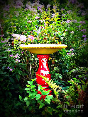 Frank J Casella Royalty-Free and Rights-Managed Images - Color Birdbath with Flowers by Frank J Casella