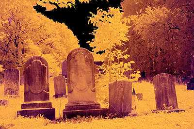 Photograph - Color Infrared Tombstones by Paul W Faust - Impressions of Light