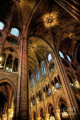 Photograph - Color Interior Notre Dame Paris 2008 by Chuck Kuhn