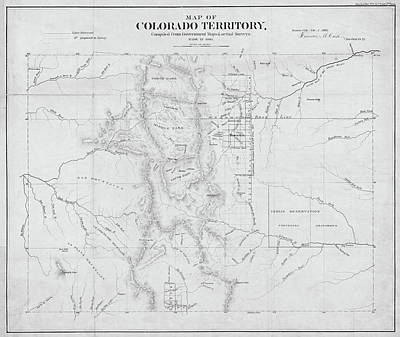 Digital Art - Colorado 1861 Territory Map Historical Map Black And White by Toby McGuire