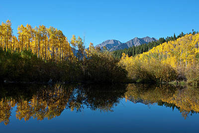Photograph - Colorado Autumn Mountain And Aspen Reflection by Cascade Colors
