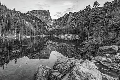 Photograph - Colorado Dream Lake Black And White Mountain Landscape by Gregory Ballos