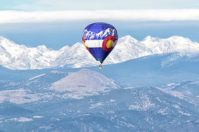 Photograph - Colorado Hot Air Balloon And The Rocky Mountains by Tony Hake
