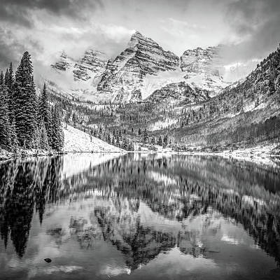 Photograph - Colorado Maroon Bells Monochrome Mountain Landscape by Gregory Ballos