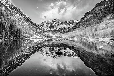 Photograph - Colorado Maroon Bells Mountainous Landscape - Black And White by Gregory Ballos