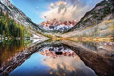 Photograph - Colorado Maroon Bells Mountainous Landscape Reflection by Gregory Ballos