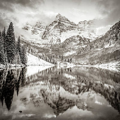 Photograph - Colorado Maroon Bells Sepia Mountain Landscape by Gregory Ballos