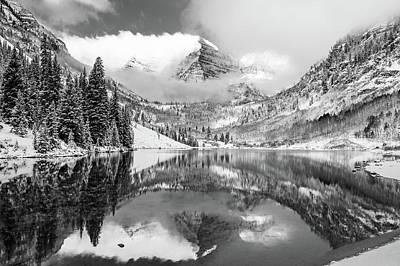 Photograph - Colorado Mountain Landscape - Maroon Bells Monochrome by Gregory Ballos