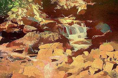 Mixed Media - Colorado Stream And Boulders by Clive Littin