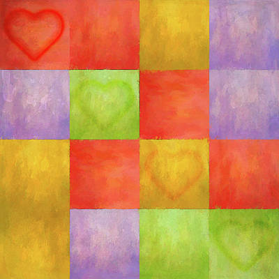 Digital Art - Colored Tiles With Hearts by Jason Fink