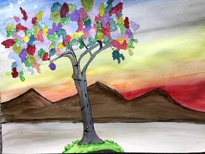 Painting - Colored Tree by Gayle Zeigler