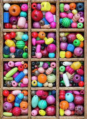 Photograph - Colored Wooden Beads by Tim Gainey