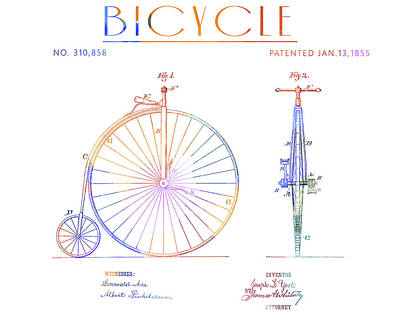 Drawing - Colorful 1885 Bicycle Patent by Dan Sproul